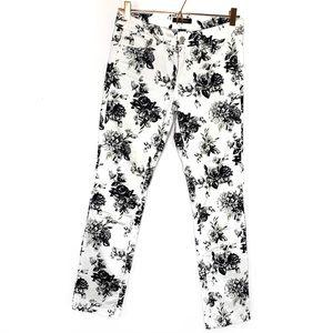 WHITE HOUSE BLACK MARKET floral skinny jeans